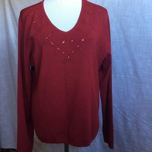 NWOT East 5th XL Crimson V Neck L/S Sweater